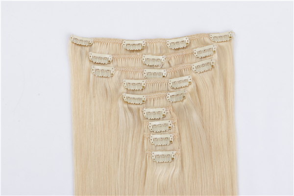 Human Hair Clip in Human hair Extensions 30 inch Blonde JF026