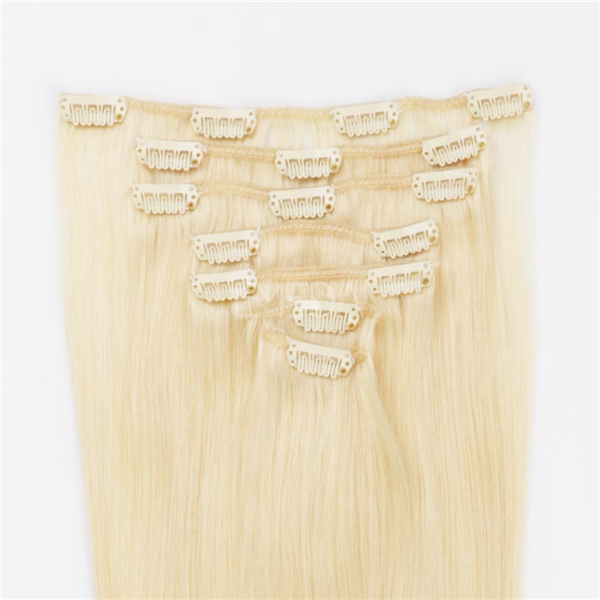 Clip in human ahir extensions blonde LJ 022