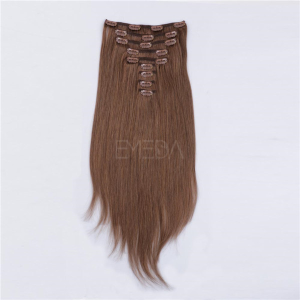 Clip in human hair extensions brown blonde mix LJ028
