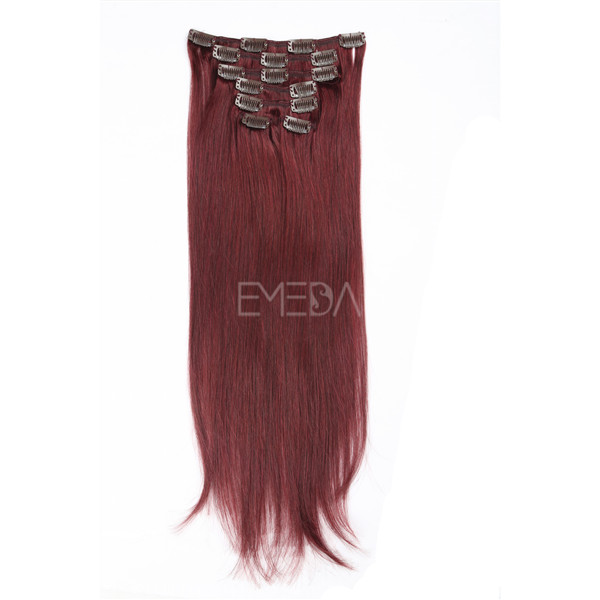 Double drwan red clip in human hair extensions Brazilian remy human hair YJ10