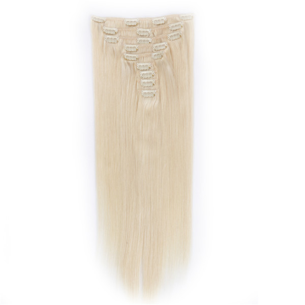 Clip in human hair extensions black color LJ024